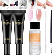 Quick Poly Extension Gel Slip Solution Nails Brush Tips Clip Spatula Stick Kit