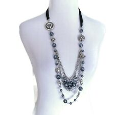Silver and Blue Beaded Chain Ribbon Tie Bib Necklace