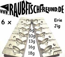 Bleigussform Erie Jig 6, 10, 13, 16 und 18g VMC 3/0 und 4/0 Jig Köpfe giessen
