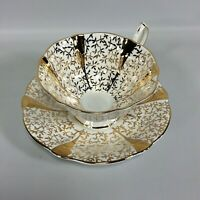 Queen Anne Gold Lace Bone China Tea Cup and Saucer Set England Heavy Gold