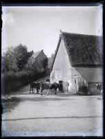 Frankreich Dorf Ferme c1900 Foto Negative Platte De Verre Vintage VR18L4n8