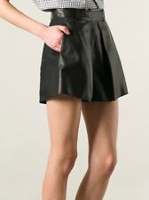 NWT $1,235 Balenciaga Runway Black Leather Shorts Skirt Sz FR 40