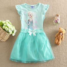 New Summer Frozen Queen Elsa Kids Girls Clothing Short Sleeve Cotton Dress 4-5Y
