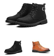 Mens Polish Chukka Casual Winter High Top Faux Leather Biker Ankle Boots Shoes L