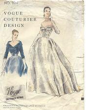 1954 Vintage VOGUE Sewing Pattern B32 DRESS EVENING GOWN BOLERO JACKET (1365)