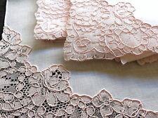"""Pink Lace ~Roses~ 12 Vintage Linen Napkins French AlenÇOn Lace 17"""" Unused Clean"""