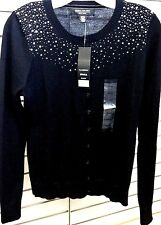 Central Park West New York Women's Sequin Cardigan Sweater  Black  Sz Small