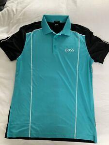 Hugo Boss Golf Shirt - Medium - Black/blue - Size Medium - Brand New