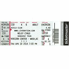 MILEY CYRUS Concert Ticket Full Stub WASH. DC 4/10/14 HANNAH MONTANA BANGERZ