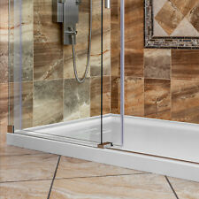 "32""x32"" Shower Base Pan Left Double Threshold Wall Corner Center Drain LessCare"