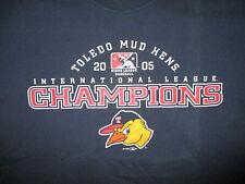 TOLEDO MUD HENS MINOR LEAGUE BASEBALL CHAMPIONS vtg 2005 Triple A Blue MEDIUM