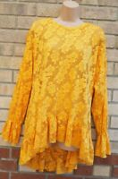 ZARA YELLOW FLORAL LACE LONG SLEEVE OVERSIZED SMOCK LONG TUNIC TOP BLOUSE M