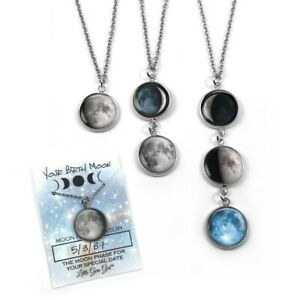 Stainless Steel Custom Birth Moon Necklace with 1, 2, 3, or 4 Lunar Phase Charms
