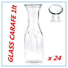 24 x Glass Carafe 1 Lt for Water Juice Wine Serving Pitcher Jug Bottle wh lid Fd