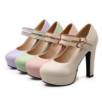 Ladies Mary Janes Shoes Synthetic Leather Platform High Heels Pumps UK Size S228