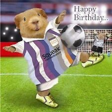 Free Kick Guinea Pig playing football Happy Birthday card foil detail