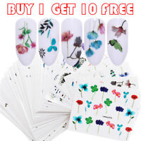 LEMOOC Nail Art Water Decals Flower Leaf Nail Transfer Sticker Buy 1 Get 10 Free
