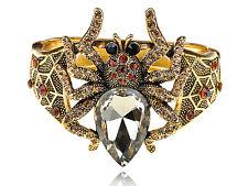 Retro Siam Topaz Crystal Rhinestone Spider Bug Bracelet Bangle Cuff Wristband