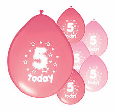 "20 X 5th BIRTHDAY GIRL BALLOONS ""5 TODAY""  BIRTHDAY BALLOONS MIX PINK (PA)"