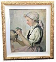 LAJOS REIZES MOLNAR (HUNGARIAN, B.1903) JEWISH, PEASANT GIRL WITH JUG, JUDAICA