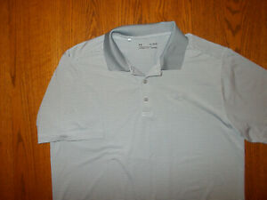 UNDER ARMOUR SHORT SLEEVE GRAY PINSTRIPE POLO SHIRT MENS XL EXCELLENT CONDITION