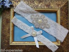 Rhinestone Wedding Garter Set (2 Garters) Pearl Bow White Lace  Bridal Prom R1