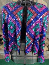 Vintage Nipon Night Full Sequins Geometric Multicolor Open Jacket size Large