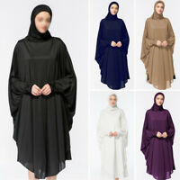 Black Muslim Women Prayer Dress Long Scarf Hijab Islamic Large Overhead Clothes