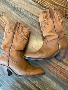 Womens FRYE vintage cowboy western boots sz 7.5 Brown leather