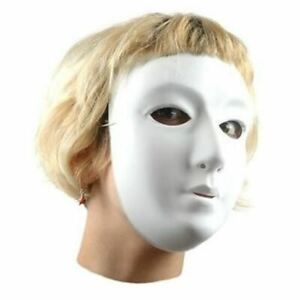 White Plastic Full Face Masks Children Size Ready to Decorate Mask Making