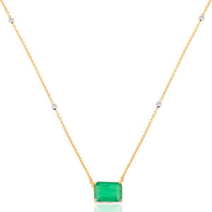 4.46 TCW Emerald Gemstone Charm Pendant 18k Yellow Gold Necklace Fine Jewelry
