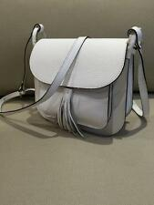 White & Black 100% Italian Leather Ladies Little Shoulder Bag,Cross Body Handbag