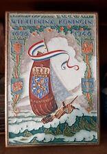 Large delft cloisonné tile .Wilhelmina 1898-1948  50th ann. queen of nethetlands