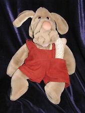 Wrinkles GANZ Puppet Plush Puppy Dog 18 Inch Boy Cord Jumper Brown 1981 & Bone!