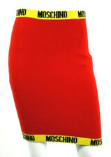 MOSCHINO Red Wool Blend Yellow Logo Trim Knit Pencil Skirt 38