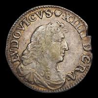 "FRANCE. Louis XIV ""The Sun King"", 1643-1715. Silver 4 sols, 1675, Lyons mint"
