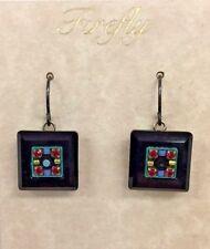 Firefly Fair Trade Jewelry Black La Dolce Vita Square Earrings 6633-MC/J