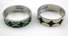 $76 BANANA REPUBLIC Lot Of 2 Enamel Mod Silver Tone Hinged Bangle Bracelet NEW