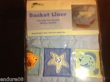 KidsLine Basket Wicker Liner Quilted Fabric Sea Ocean Theme