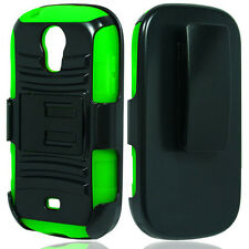 Samsung Galaxy Light SGH-T399 Black Green Hybrid ARMOR Stand Cover Cas