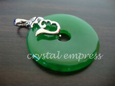 FENG SHUI - JADE DISC PENDANT WITH HUM SYMBOL (WHITE GOLD PLATED)