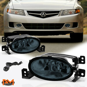 For 06-08 Acura TSX Smoked Lens Front Bumper Driving Fog Light/Lamp+Switch Pair