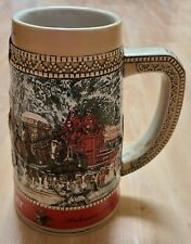 "1987 Budweiser Clydesdale Collector Holiday Beer Stein ""C"" Series Anheuser Busch"
