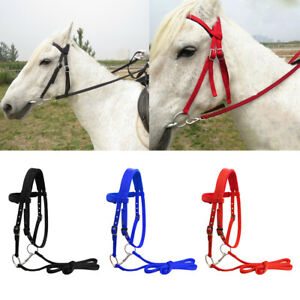 Soft Nylon Horse Bridle Adjustable Headstall with Removable Snaffle Halter