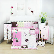 10 Pieces Beautiful Pink Flower Baby Girls Crib Cot Bedding Quilt Set KLF368