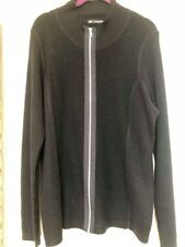 MARKS & SPENCER AUTOGRAPH LONG SLEEVE BLACK ZIP FRONT CARDIGAN WOOL MIX SIZE 22