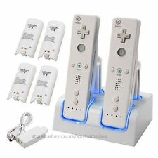 4 Port Charger, Dual Twin Charging DOCK STATION + 4 Chargeable Batteries for Wii
