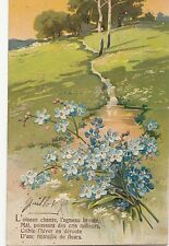 CC97.Vintage French Greetings Postcard. Springtime. Flowers. Forget me nots.