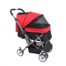 Red 4 Wheel Reversible Forward Or Rear Pet Dog Cat Stroller Pushchair Buggy Pram