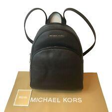 Michael Kors Medium Black Leather Backpack Abbey Jet Set